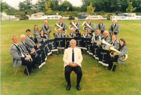 Cottenham Brass Band  photographed on 15 July  2000 when they played for Cambridge Motor Boat Club at Clayhithe Cambridgeshire.